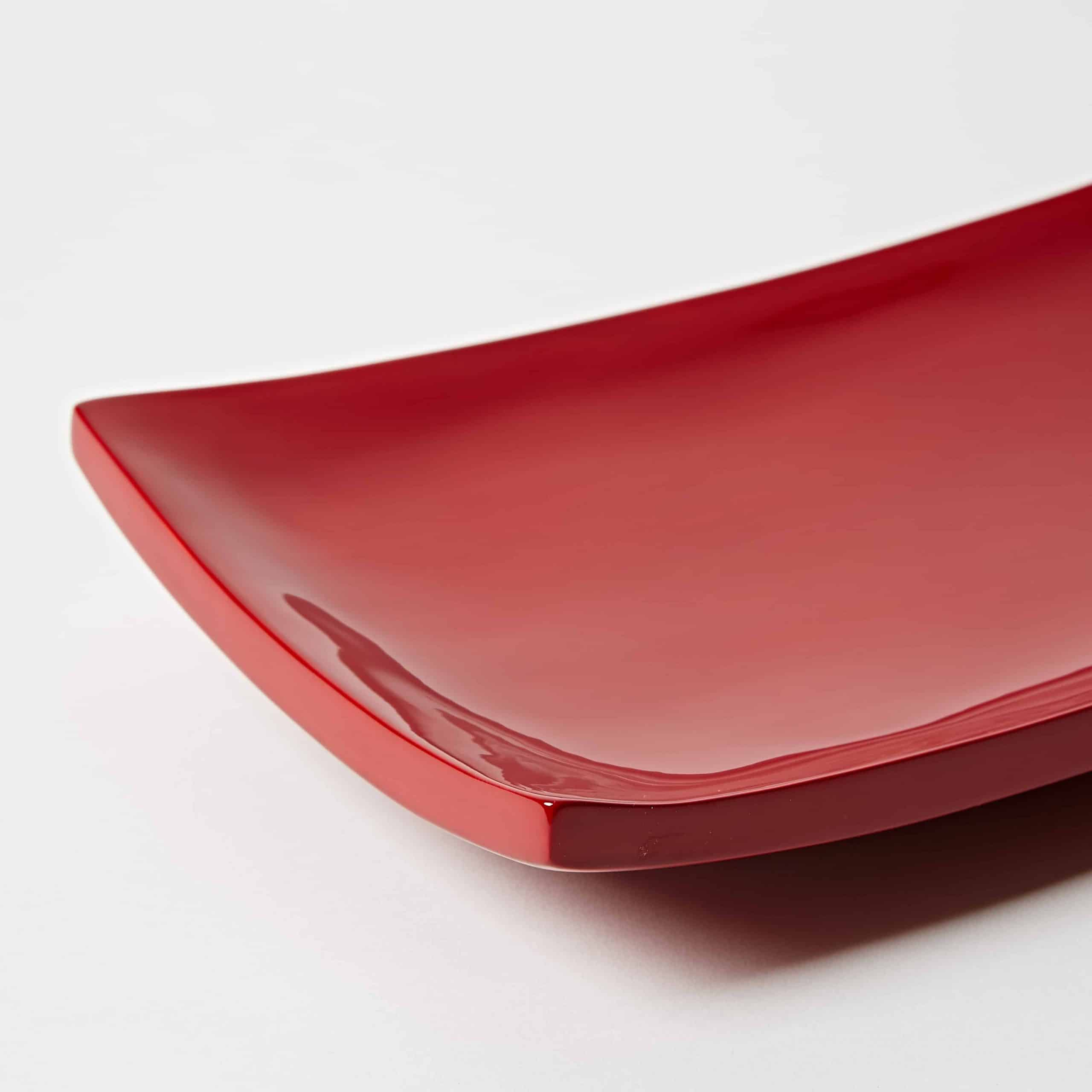 Red lacquer sushi plate