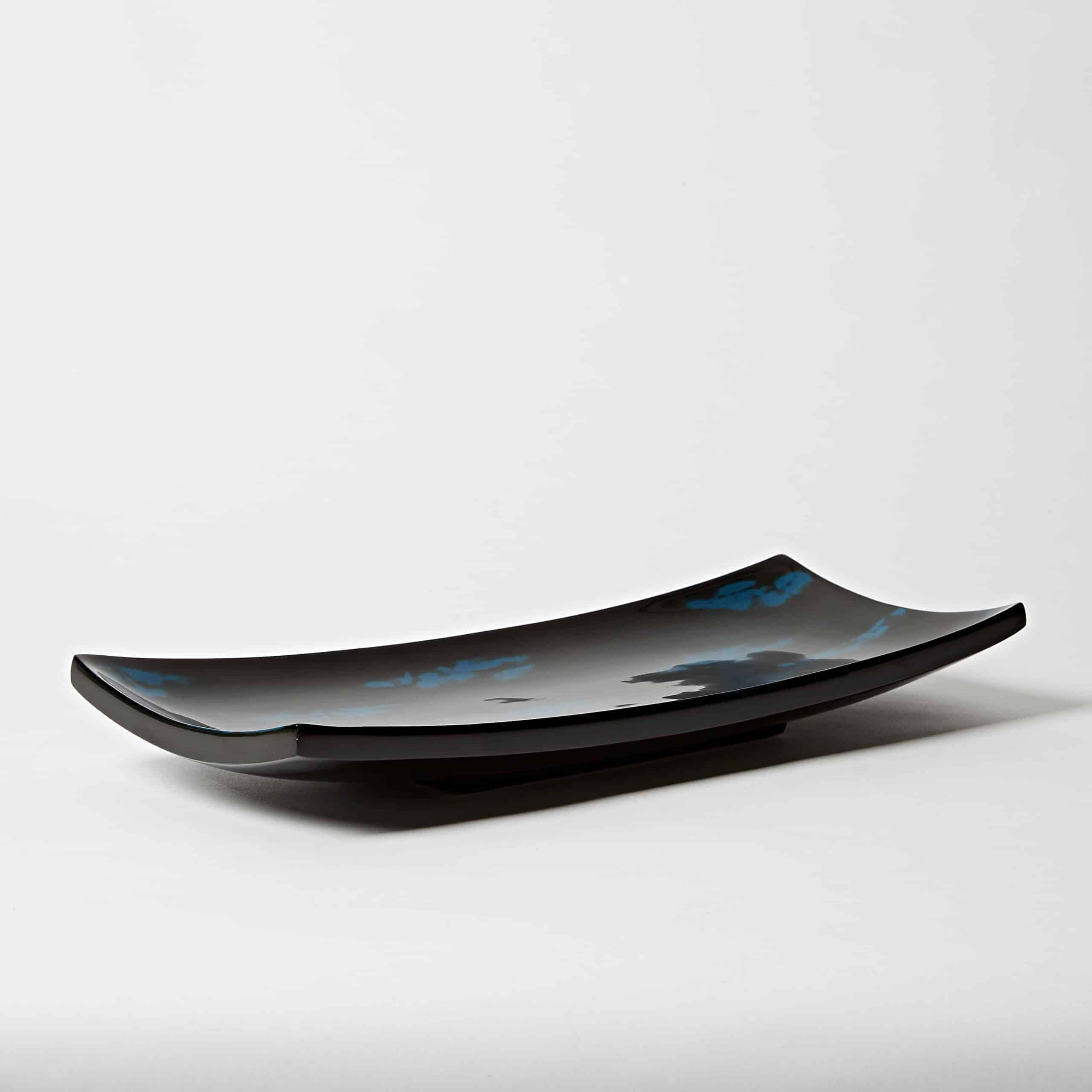Blue lacquer sushi plate