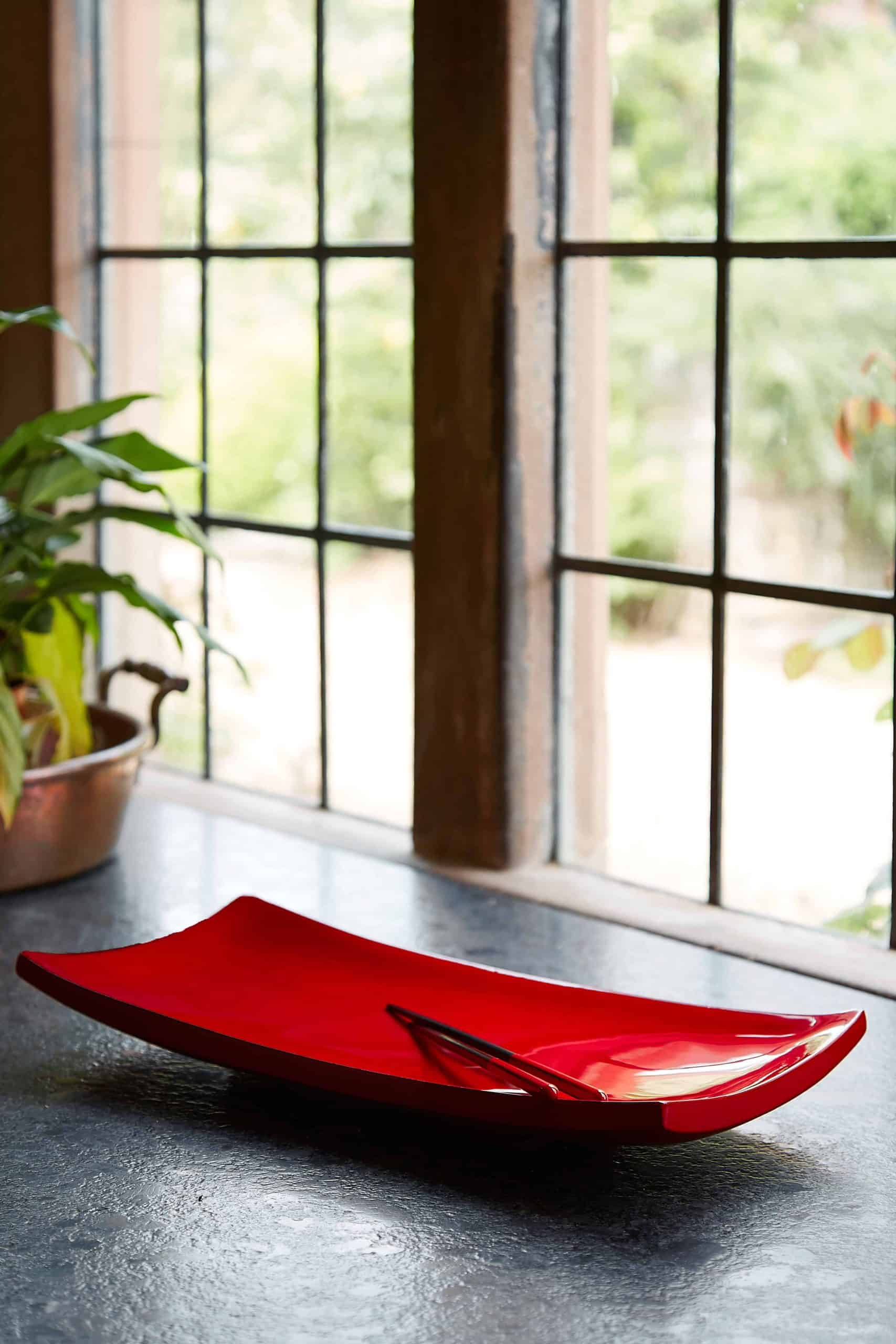 Red sushi lacquer plate