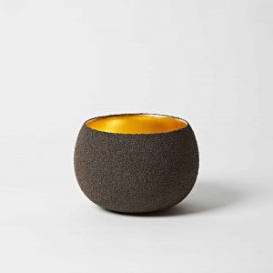 Black Sand, Gold Leaf Bowl, Large