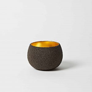 Black Sand, Gold Leaf Bowl, Medium
