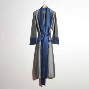 Hand-woven Silk Dressing Gown, Silver with Blue