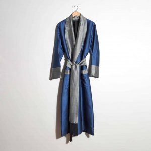 Hand-woven Silk Dressing Gown, Blue with Silver