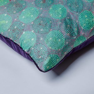 Kantha Cushion – Purple Velvet Back