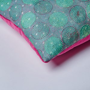 Kantha Cushion – Pink Velvet Back
