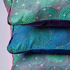 Kantha Cushion, Purple Velvet Back